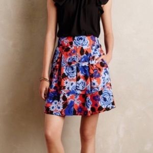 ANTHROPOLOGIE HD IN PARIS FLORAL SKIRT W/ POCKETS.